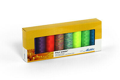 Mettler Poly Sheen 100% Polyester Neon 8 Pack Sewing Thread Embroidery Crafts