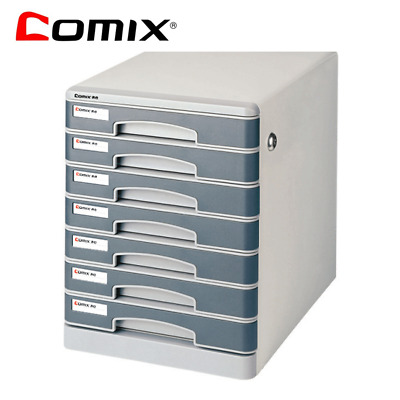 Comix Office Seven-story desktop metal A4 filing cabinet with lock grey-B2202
