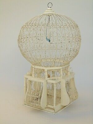 Pretty Vintage Victorian Style Birdcage in Antique French White