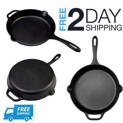 Large Cast Iron Skillet Deep Frying Fry Pan Big For Eggs Oven Camping 2 Handles