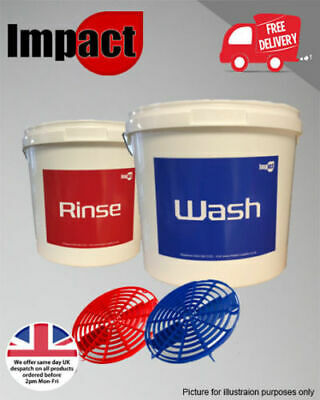 Valet Bucket X2 with Grit Guards 16 litre heavy duty car care wash rinse