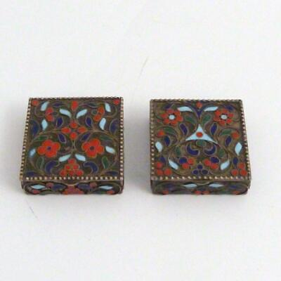 Pair 19Th Century Russian Silver And Cloisonne Pill Boxes, Marked To Base