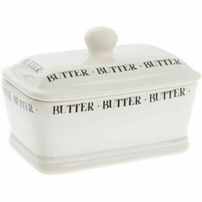 Vintage Retro Style Cream Script Ceramic Butter Dish With Lid New And Boxed