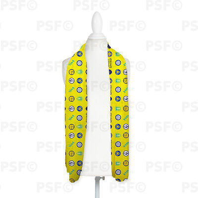 Leeds United FC Official Personalised LUFC Yellow Badges Chiffon Scarf LS005