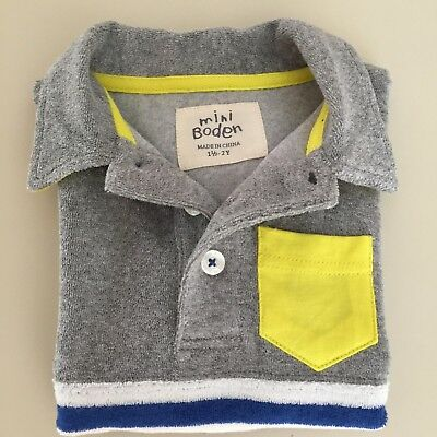 "Mini Boden AWESOME Boys ""TOWELING POLO SHIRT"" Size 1-2 years. So Comfy and Cool!"