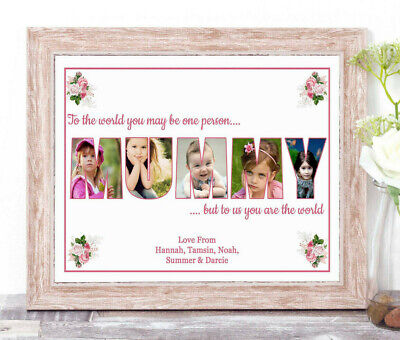 Personalised MUMMY Photo Collage Word Art Print Birthday Mother's Day Gift A4