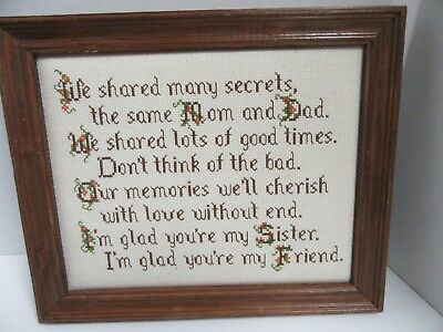 Finished Cross Stitch Sister Friend Poem Completed Wood Framed 9.5x11 Inch
