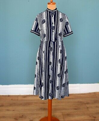 Vintage 80's Blue White Striped / Leaf Print Dress Retro Boho 8
