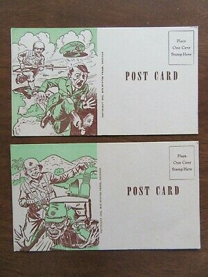HItler and Tojo on 2 World War II post cards unused WWII 1942