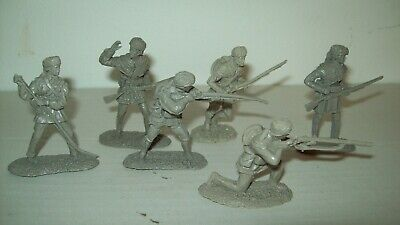 Six O/P Barzso resin cast Early America gray Pioneers playset figures