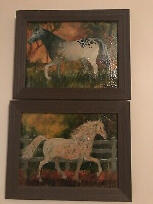 Original Oil Paintings Horses; Set Of 2; Newly Framed; Signed; Beautiful!