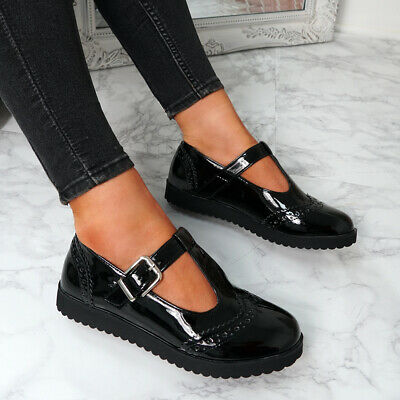 Womens Ladies Black Patent T Bar Loafer Oxfords School Ballerina Shoes Size