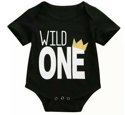 1St Birthday Wild One Boys Bodysuit With Gold Crown Size 0 | 12 Months