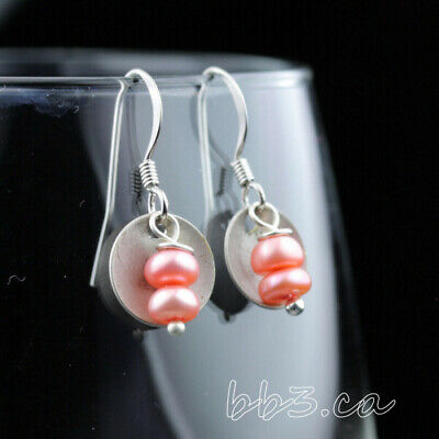 Earrings Pink Button Freshwater Pearls with Antiqued Silver Disks Handmade