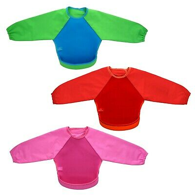 Bibetta UltraBib with sleeves - feeding weaning waterproof bibs red pink green