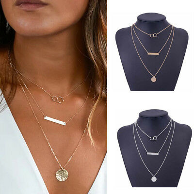 Silver Gold Plated 3 Double Layer Beaded Chain Choker Necklace Disc Pendant UK
