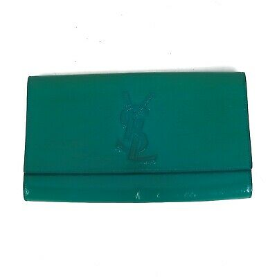 YSL Belle De Jour Clutch Bag- Patent Leather Green Envelope Yves Saint  Laurent 496fe054e7aee