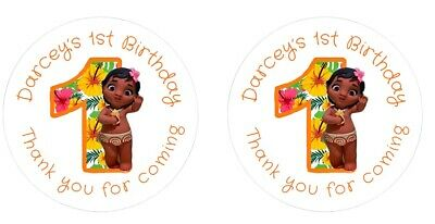 Personalised Round Baby Moana 1st Birthday Party Stickers Sweet Cones Bags