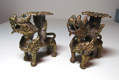 2 vintage Tibetan Nepalese bronze Foo dog guardian candle holders free US ship