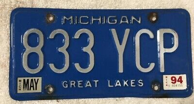 Michigan 1994 Blue License Plate