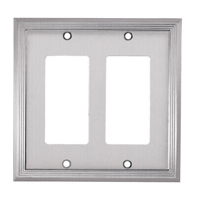 Allen + Roth Double Decorator Satin Nickel Finish Wall Plate #0325993