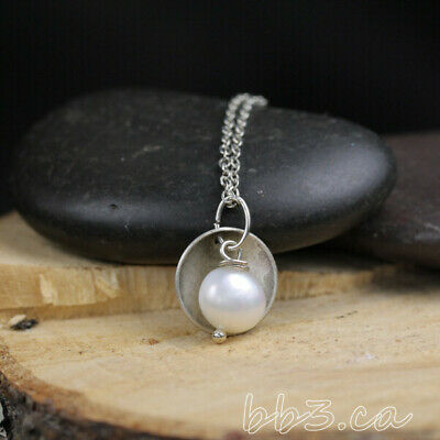 Necklace White Freshwater Pearl with Antiqued Silver Disk Handmade in Canada