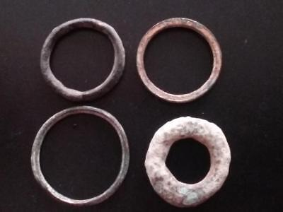 (Lot of 4) Authentic Ancient CELTIC Bronze Small Ring Money Sandy Patina ~600 BC