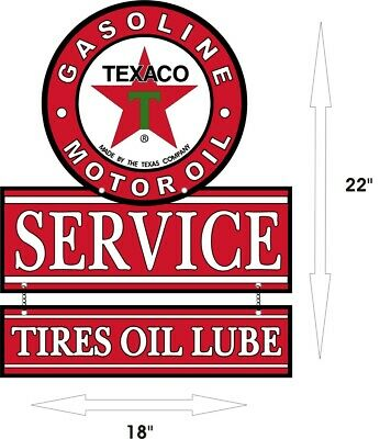 "TEXACO Gasoline Oil Tires Lube & Gas Station Aluminum Vintage 22"" x 18"" Sign"