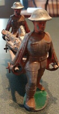 1930s toy soldier Barclay Manoil 4 pcs litter team wounded rare metal stretcher