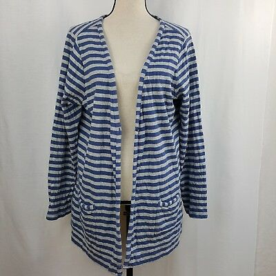 958019dc242c Coldwater Creek XL Size 16 Sweater Blue Gray Open Front Cardigan Pockets
