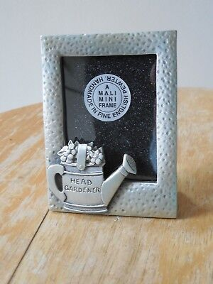 "Small, ""Head Gardener"",Pewter, Photo Frame,Free Standing, Photo Size 5.5x4.5 cm"