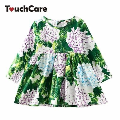 Floral Printed Baby Girls Dresses Spring Autumn Long Sleeve Bow Princess Dress