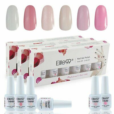 Elite99 Kit Uñas de Gel Esmalte Semipermanente 6pcs Colore Gel Coat Shellac L...