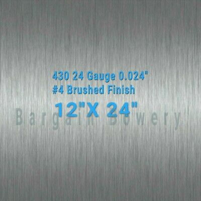 "430 stainless steel sheet 24gauge 0.024"" inch 0.63mm 12"" x 24"" inch"