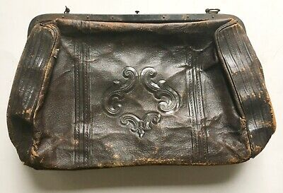 "Antique 19th Century c1880s Leather Doctors Bag Purse Medical Medicine 15""x9"""