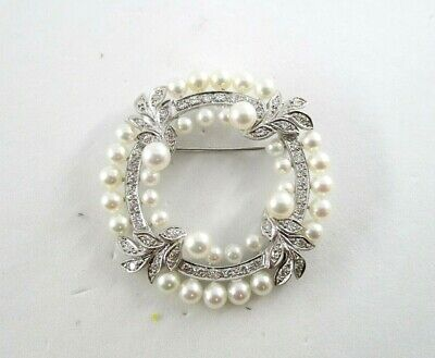 1950's Round 36 Pearl & 48 Diamond Wreath Style Pin Brooch in 14K White Gold