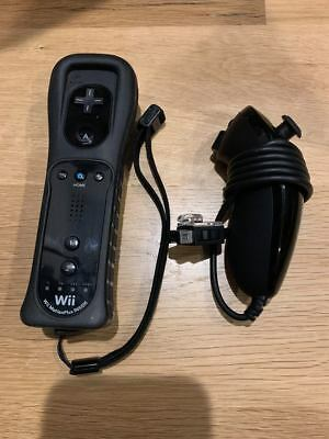 Official Black Nintendo Wii Remote Motion Plus Controller with cover+ Nunchuck
