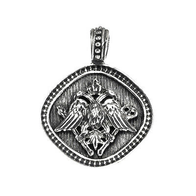 Gerochristo 3195N ~ Double Headed Eagle - Byzantine Sterling Silver Pendant