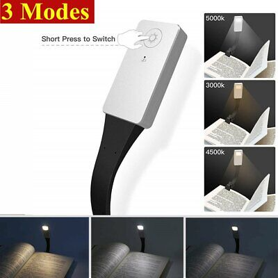 LED Reading Book Light Flexible Clip On USB Rechargeable Lamps 3-Level Adjust
