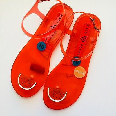 fb6559e88ebe Katy Perry The Geli Red Watermelon Ankle Strap Sandals Jellies Shoes Womens  10
