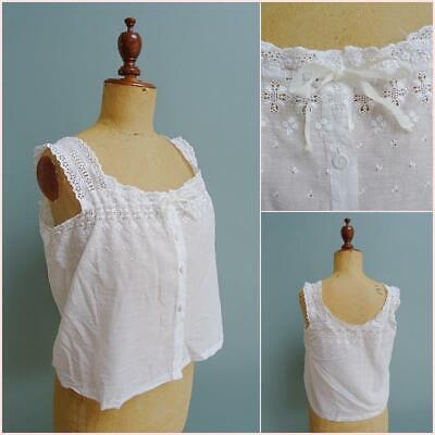 Antique Victorian Ladies Camisole - Embroidered Whitework Cotton Floral c1890