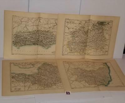 4 antique maps 1900 encyclopedia book plate pages England Britain British