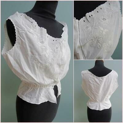 Antique Victorian Ladies Camisole - Embroidered Cotton Floral Flowers c1890
