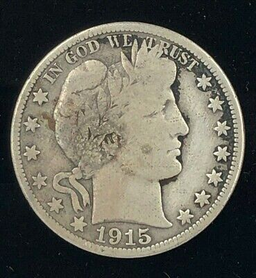 1915-D Circulated Barber Half-Dollar Denver Minted Fifty-cent Piece 50C