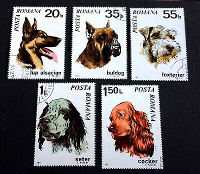 5 nice old canceled stamps dogs 1971 Romania