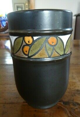 Poole Pottery 1970's Black Olympus Seville Vase 16cm tall