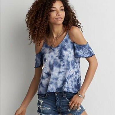 5bba020242300b American Eagle Soft   Sexy Cold Shoulder Tank Top Womens XL Tie Dye Blue -  NEW