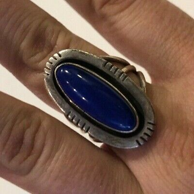 M. MACE Signed Sterling Silver Native Southwestern Lapis Ring Size 8.5