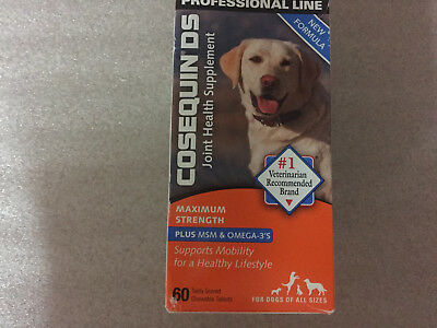 COSEQUIN DS Plus MSM For Dogs (60 Chewable Tablets) Nutramax exp 2020 # 7365