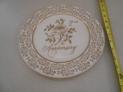 Vintage 2Nd Anniversary Plate Norcrest Fine China Made Japan Vg Rose Second